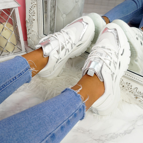 Potty White Silver Party Sneakers