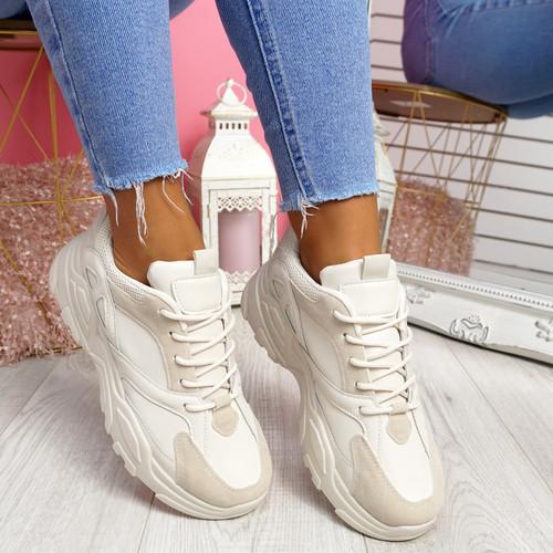 Pinny Beige Pu Chunky Sneakers