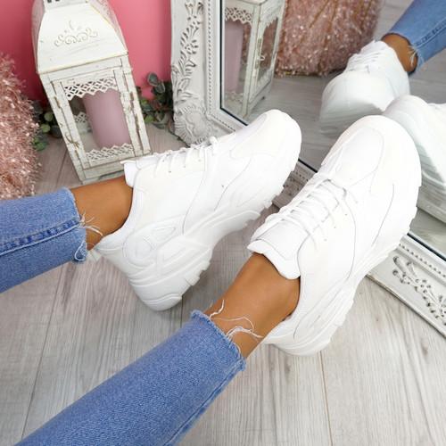 Pinny White Pu Chunky Sneakers