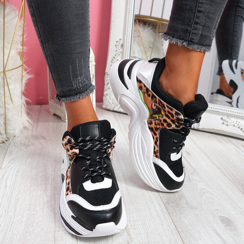 Liva Black Leopard Chunky Sneakers