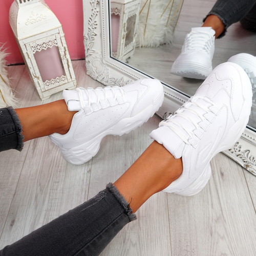 Nizzo White Lace Up Chunky Trainers
