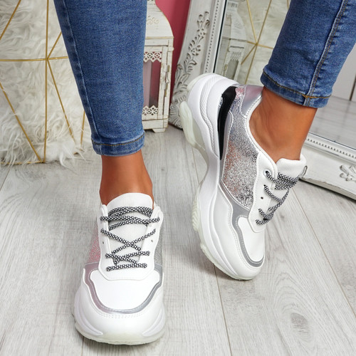 Eveny White Silver Chunky Sneakers