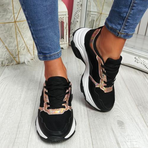 Eveny Black Chunky Sneakers
