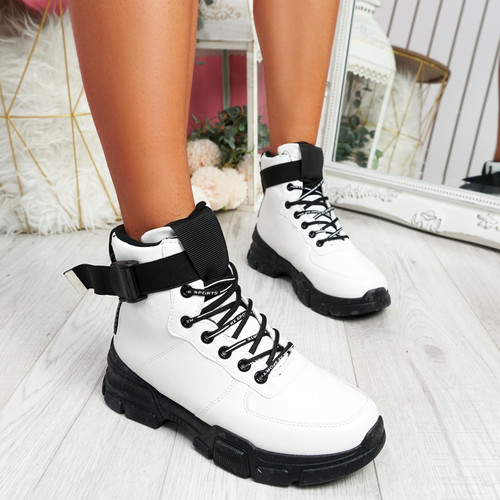 Lidda White Zip Ankle Boots