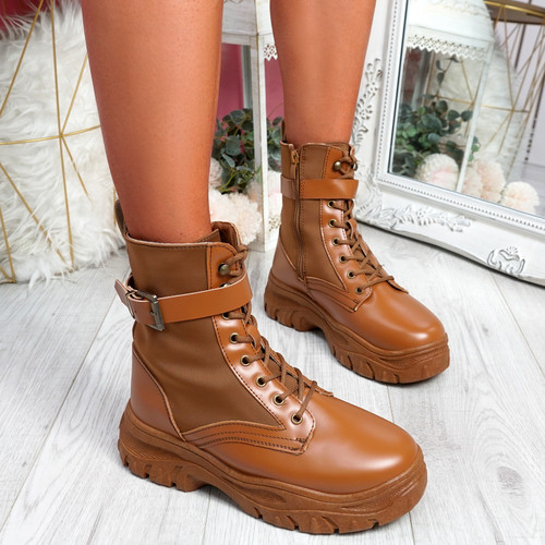 Hille Camel Zip Ankle Boots