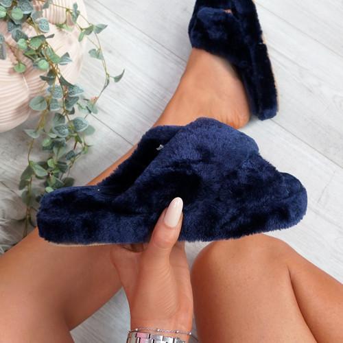 Monny Dark Blue Fluffy Sliders