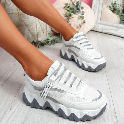 Buvy White Grey Chunky Sneakers