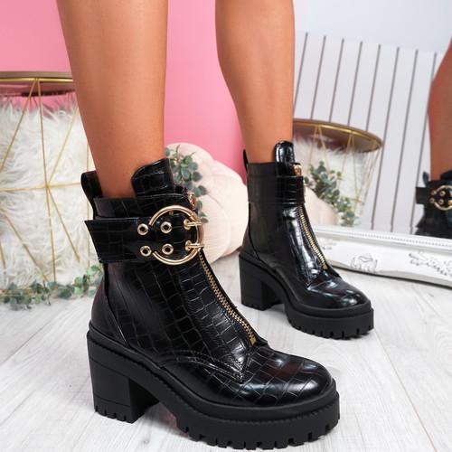 Birra Black Croc Chunky Ankle Boots