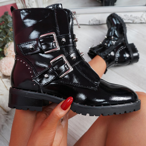Lunne Black Patent Studded Ankle Boots