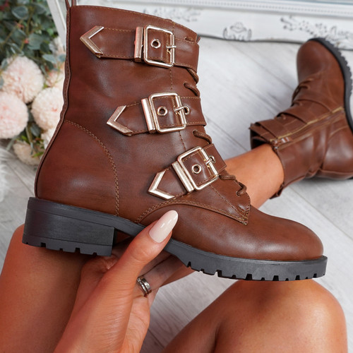 Famma Camel Buckle Zip Ankle Boots