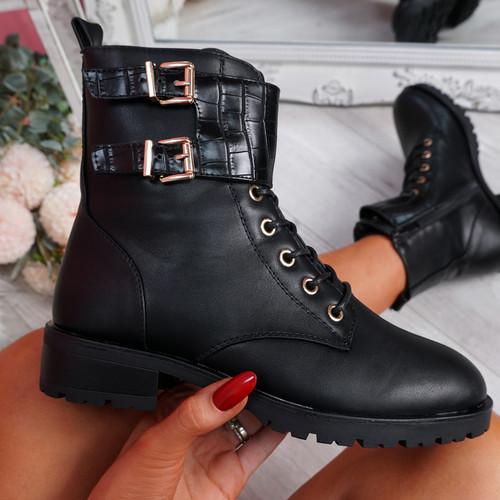 Korra Black Zip Ankle Boots