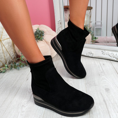 Sirre Black Slip On Ankle Boots