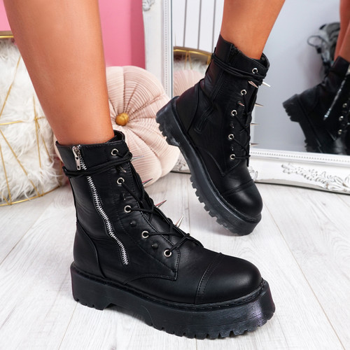 Eny Black Spike Studded Ankle Boots
