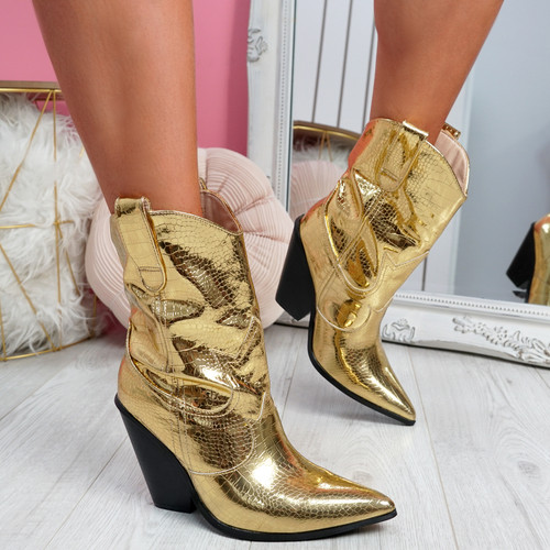 Teea Gold High Top Slough Boots