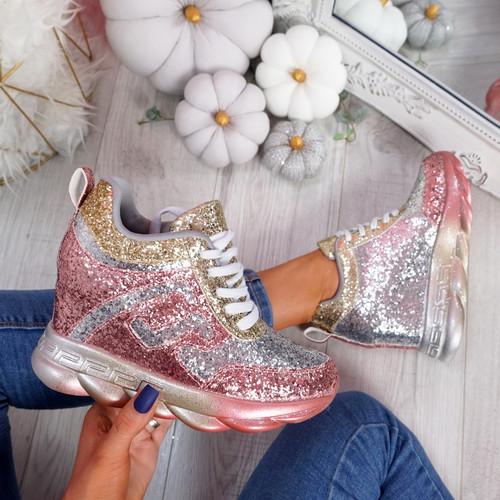 Disso Champagne Glitter Wedge Trainers