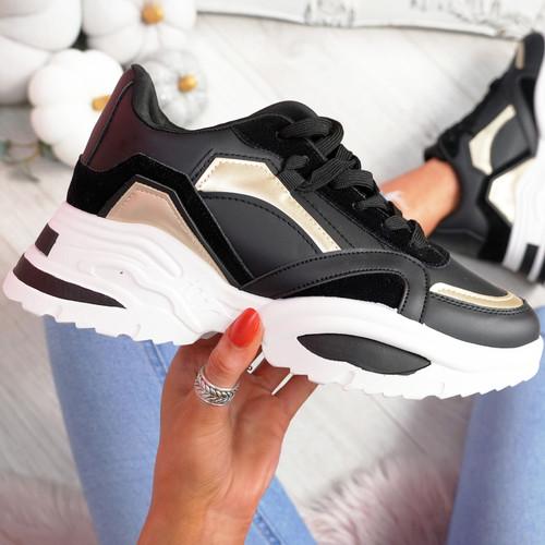 Nemy Black Chunky Sneakers
