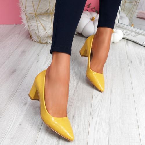 Pressy Yellow Croc Block Heel Pumps