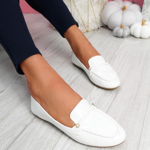 Revvy White Patent Flat Ballerinas