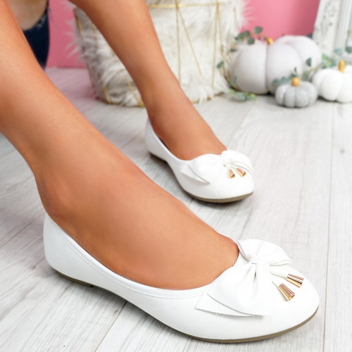 Libba White Bow Ballerinas