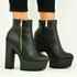Black Pu Chunky Cleated Platform Boots