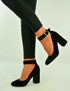 Black Velvet Ankle Strap Pumps