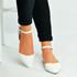 White Pu Ankle Strap Flat Ballerinas
