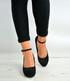 Black Suede Ankle Strap Wedge Platforms