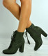 Audrey Army Green Block Heel Ankle Boots