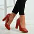 Cora Red Slip On Block Heel Pumps