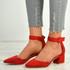 Kate Red Ankle Strap Block Heel Pumps