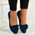 Bria Dark Blue Ruffle Ballerinas