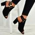 Angeline Black Block Heel Sandals
