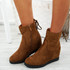Rya Camel Wedge Ankle Boots