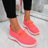 Ligy Fuchsia Knit Lace Up Sneakers