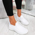 Ligy White Knit Lace Up Sneakers