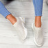 Eky Beige Studded Knit Trainers