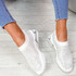 Eky White Studded Knit Trainers