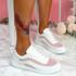 Kawa Fuchsia Lace Up Glitter Trainers