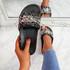 Kevy Black Diamante Studded Sandals