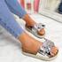 Linne Silver Glitter Flatform Sandals