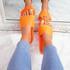 Vessa Orange Flat Sliders Sandals