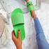 Mannya Fluorescent Green Slip On Sandals