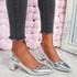 Nya Silver Block Heel Pumps