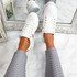 Lezma White Gold Lace Up Trainers