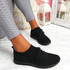 Oya Black Lace Up Knit Trainers