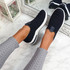 Essy Navy Slip On Knit Trainers