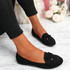 Invy Black Slip On Bow Ballerinas