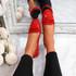 Invy Red Slip On Bow Ballerinas