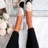 Invy Beige Pu Slip On Bow Ballerinas