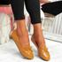 Invy Camel Pu Slip On Bow Ballerinas